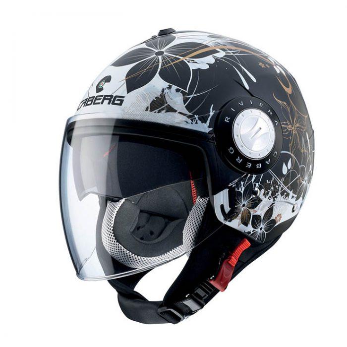Casco Demi Jet Caberg Riviera V3 Floral Black White - Abbigliamento e Accessori Moto