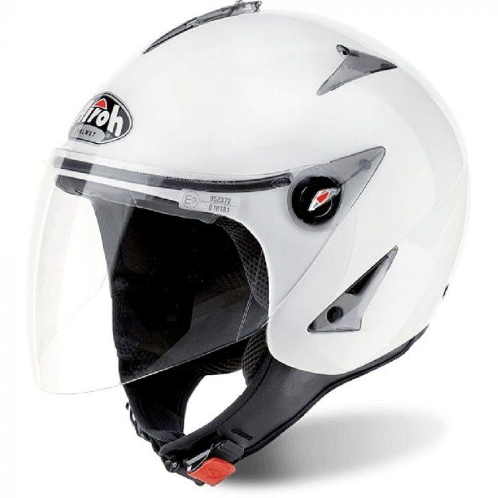 Casco Demi Jet Airoh JT11 Color White Gloss Abbigliamento e Accessori Moto