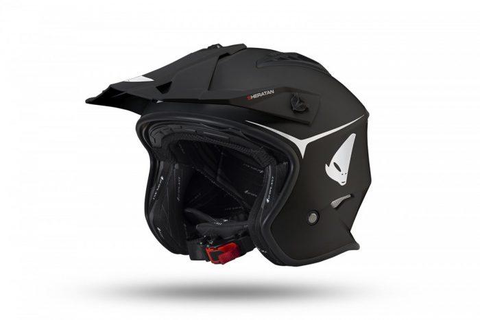 Casco Jet Ufo Trial Sheratan Nero Opaco Abbigliamento e Accessori Moto