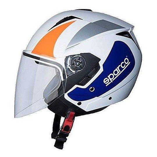 Casco Demi Jet Sparco SP503 Bianco Arancio