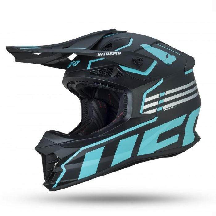 Casco Motocross Ufo Intrepid Nero Celeste