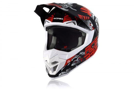 Casco Motocross Acerbis Profile 4 Nero Grigio Rosso Opaco Abbigliamento e Accessori