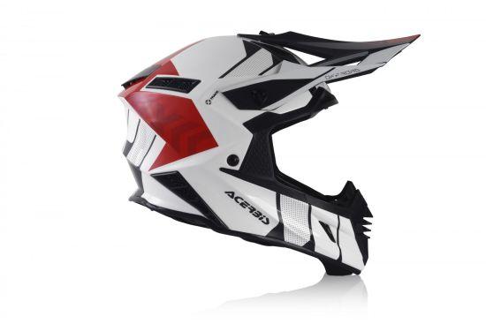 Casco Motocross Acerbis X-TRACK VTR Fibra Bianco Rosso - Abbigliamento e Accessori
