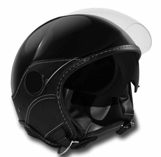 Casco Jet Max DJET Trendy Vision Nero Opaco Pelle Nera - Abbigliamento e Accessori