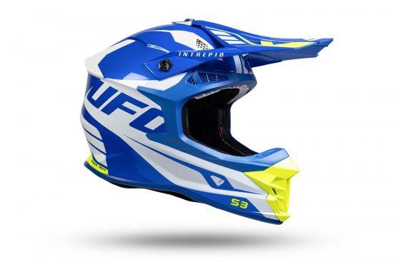 Casco Motocross Ufo Intrepid Blu Bianco Giallo Fluo - Abbigliamento e Accessori