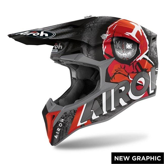 Casco Motocross Airoh Wraap Alien Red Matt - Abbigliamento e Accessori