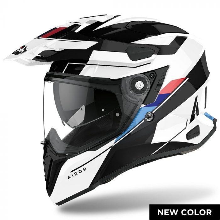Casco Enduro Crossover Airoh Commander Skill White Gloss - Abbigliamento e Accessori
