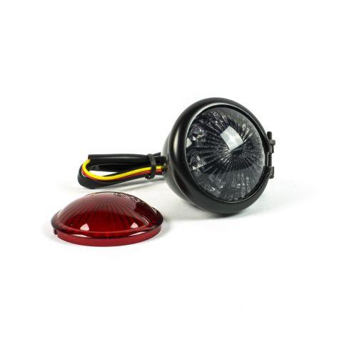 Fanale Posteriore Led in Acciao Nero lente Fumè/Rossa- Ricambi e Accessori Moto