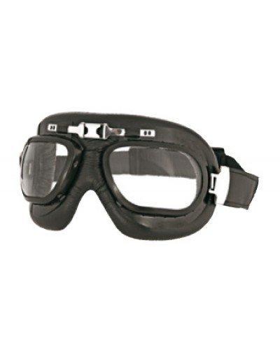 Occhiale in Pelle nera Custom Century Bertoni Lente Chiara- Abbigliamento e Accessori Moto Motocross