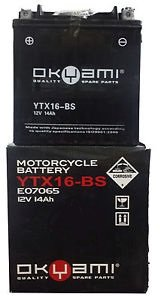 Batteria OKYAMI YTX16-BS 12V 14AH- Ricambi e Accessori Moto