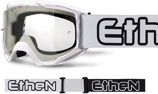 Maschera Cross ETHEN OTG06 Basic colore Bianco lente trasparente- Abbigliamento e Accessori Moto Motocross